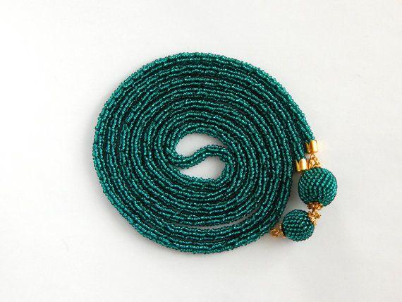Emerald lariat. Long crochet beaded rope. Beaded от Amikkaru