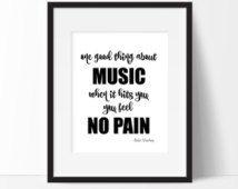 Chambre d'adolescent Print - « Une bonne chose sur musique » Bob Marley Quote - musique - dortoir - inspiration citation - citations de Motivation