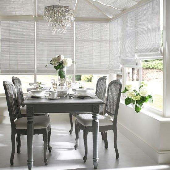 Matching blinds are a subtle way to control light and heat in a conservatory