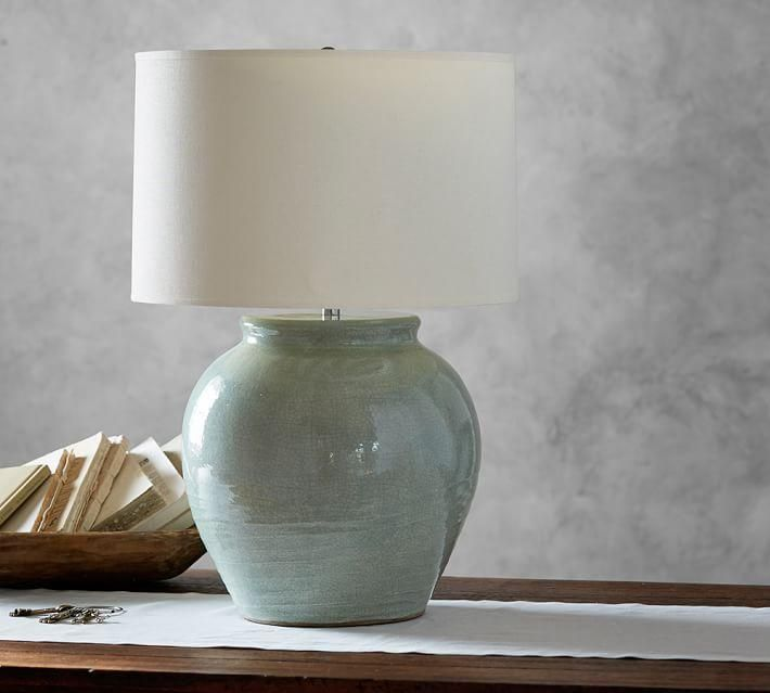 Lighting Teams Of Artisans Apply A Rich Celadon Glaze To Each Terra Cotta Lamp Base Giving It An Authentic Hand He Pottery Barn Lamps Lamp Wooden Lamp Base