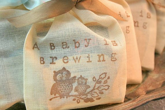 Tea Bag Favors Fully Assembled Baby Shower Muslin Bags Owl Baby is Brewing Set of 10