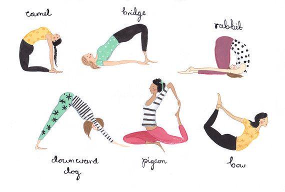 Yoga-Damen-A4-Kunstdruck von emmablock auf Etsy