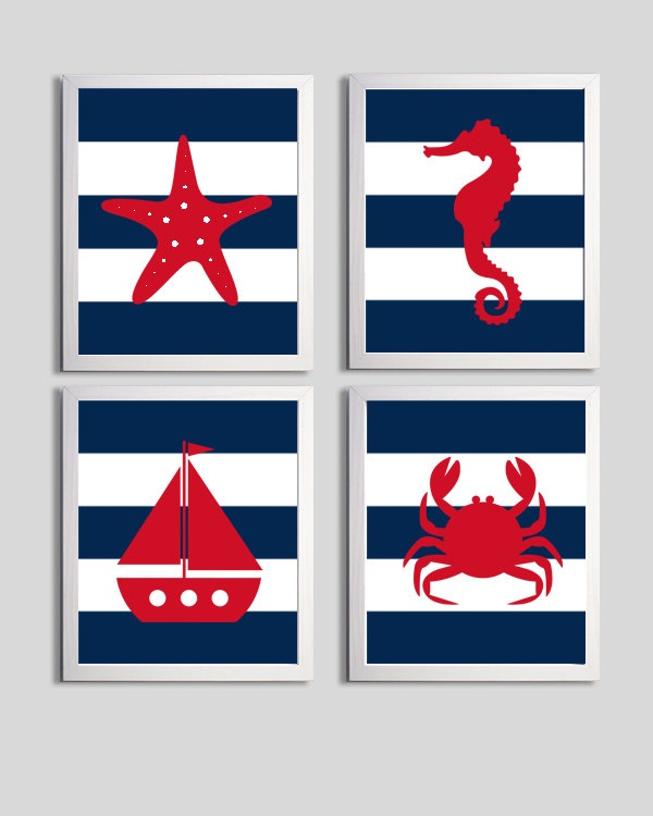 Nursery Art Stripes Nautical Beach Ocean Sea Navy Red more colors available set of 4 each 11x14. $56.00, via Etsy.