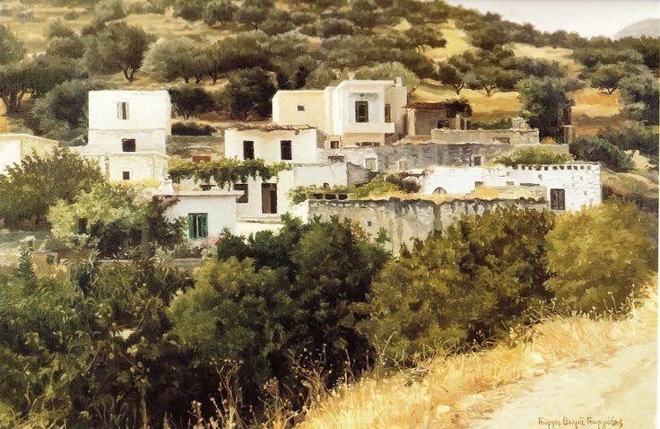 Γιώργος Θωμά Γεωργιάδης 'Κρητικό χωριό'. Λάδι. 50Χ70 εκ.