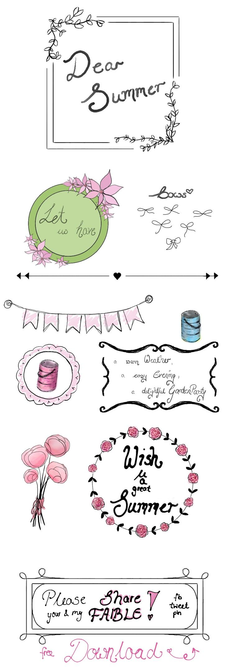 Dear Summer...  {Freebies - Part 2} - free Illustrations, Frames, Wreaths for Summer! My new Graphics -> download on FAIBLE!