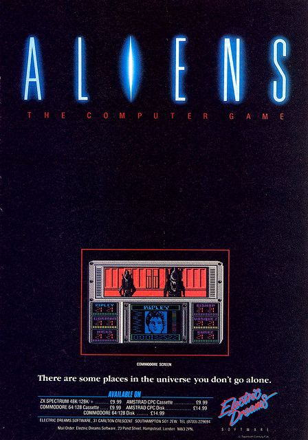 Aliens:The Computer Game for the Commodore 64 and ZX Spectrum advertisement