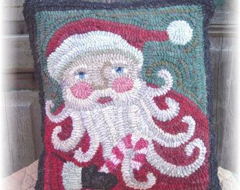 The Country Cupboard Candy Cane Santa Hooked Rug Hooking Pillow Pattern Christmas Decor