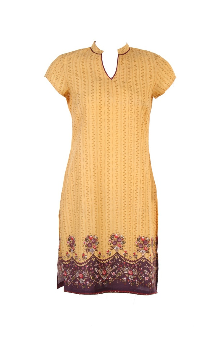 Printed kurta in yellow; round neck; short sleeve; 60's cambric; 100% cotton; 37 inches long #Clothing #Fashion #Style #Kurta #Wear #Colors #Apparel #Semiformal #Print #Casuals #W for #Woman