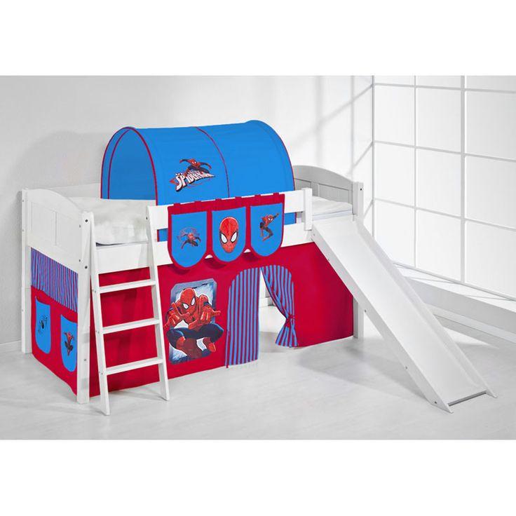 Hochbett Spielbett IDA Spiderman, mit Rutsche und Vorhang, weiß Jetzt bestellen unter: https://moebel.ladendirekt.de/kinderzimmer/betten/hochbetten/?uid=fdd47641-5d82-5d2e-a68a-555f80e7f1b0&utm_source=pinterest&utm_medium=pin&utm_campaign=boards #kinderzimmer #hochbetten #betten