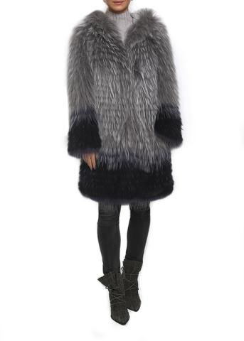 Grey Raccoon Hooded Dipped Coloured Fur Coat