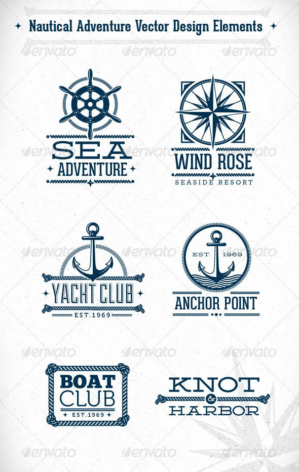 Nautical Adventure Vector Design Elements — Photoshop PSD #retro #maritime • Available here → https://graphicriver.net/item/nautical-adventure-vector-design-elements/5948070?ref=pxcr