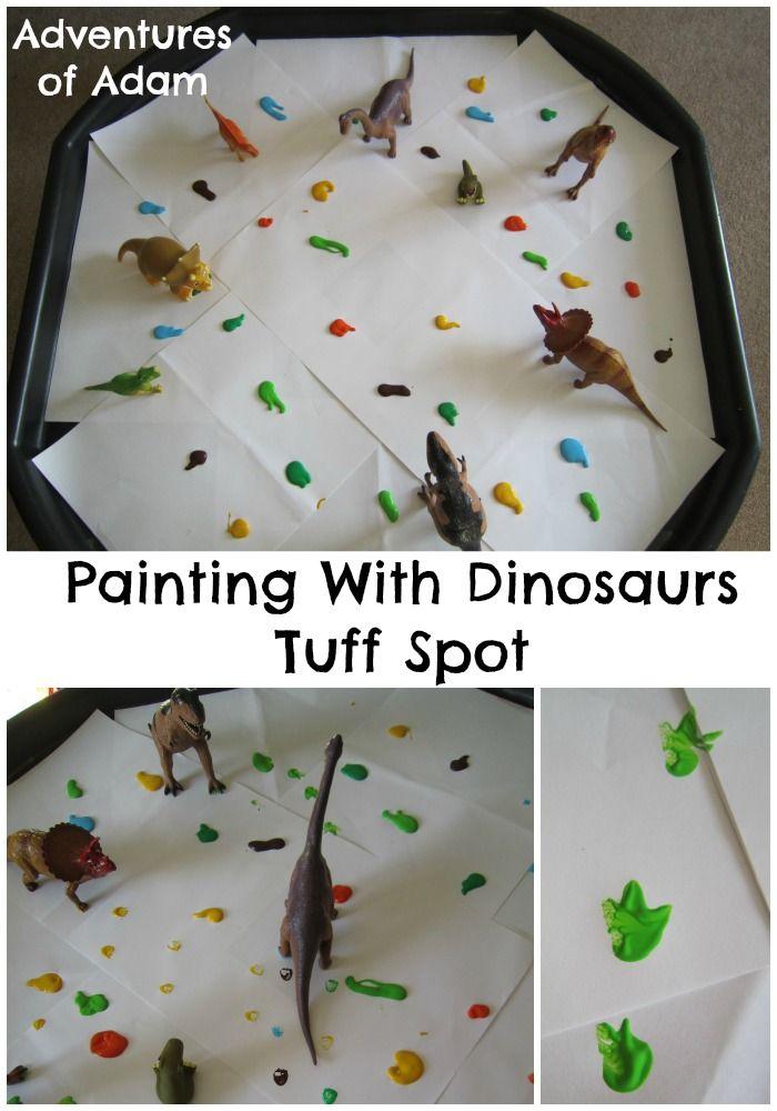 Dinosaur Painting Tuff Spot | http://adventuresofadam.co.uk/dinosaur-painting-tuff-spot/