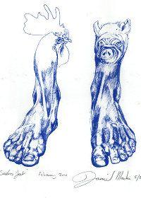 """look no feet"" limietd edition screen Print - printmaker - screen print, printmaking artist blue gorilla"