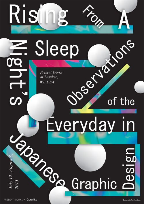 Japanese Exhibition Poster: Rising From A Night's Sleep. Ryo Kuwabara. 2015Gurafiku's  first exhibition of Japanese graphic design titled Rising From A  Night's Sleep: Observations of the Everyday in Japanese Graphic Design  opens July 12 at Present Works in Milwaukee, USA.