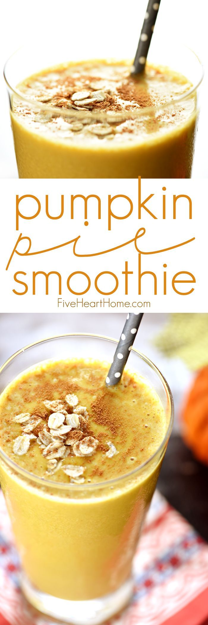 Pumpkin Pie Smoothie ~ a fall twist on thick, frosty, healthy oat smoothies...cinnamon-spiced, honey-sweetened, and perfect for breakfast or as a snack! | FiveHeartHome.com