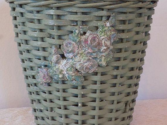 Antique Barbola Green Waste Basket w/ Pink ROSES by VintagetownUSA