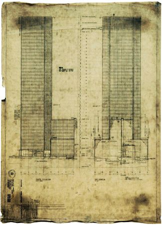 Ludwig Mies van der Rohe & Philip Johnson. Seagram Building, NY 1954-58. Architectural drawing of Mies' famous NY skyscraper, Seagram Building at 375 Park Ave; photo credit OpenBuildings.com