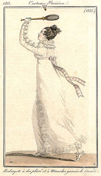 Costume Parisien 1813 Lady wears a redingote playing shuttlecock