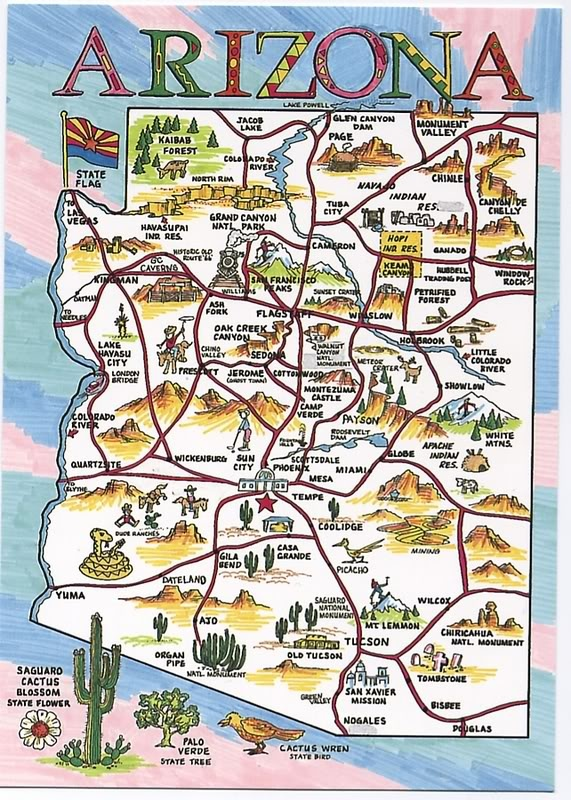 Travel Map Of Arizona.Arizona Travel Map Hasshe Com