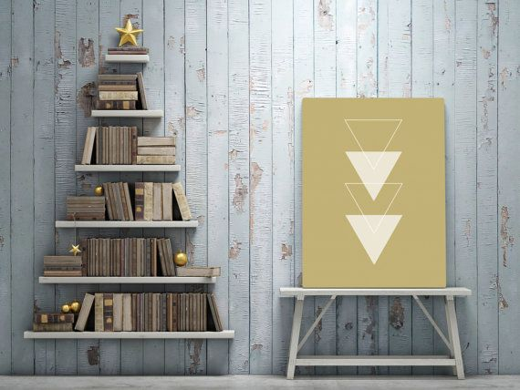 This scandinavian art print is a contemporary downloadable printable featuring white triangles on a Mustard background.  You are searching for the perfect decoration touch to any home or office ?
