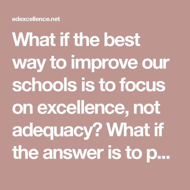 What if the best way to improve our schools is to focus on excellence, not adequacy? What if the answer is to pull from the top of the school improvement mountain, clearing the way for more students to climb higher, rather than hammering away relentlessly at the bottom?