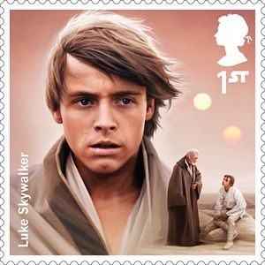A Royal Mail stamp featuring Luke Skywalker