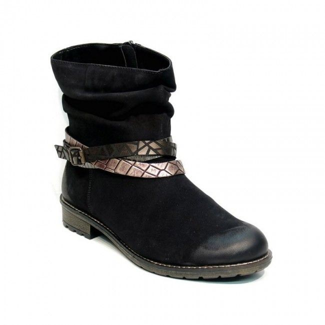 Womens leather ankle boots in black color. With removable insole, non-slip sole, zipper on the side and decoration stripes in different colors. In large sizes from Remonte.