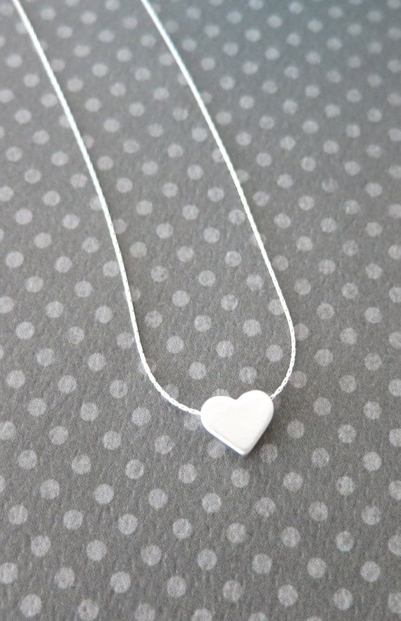 Petite Silver Heart Necklace - Sterling Silver Chain, chic, dainty, love, Sterling Silver jewelry, Best friend, Sisters, bridesmaid gifts, www.colormemissy.com, by ColorMeMissy