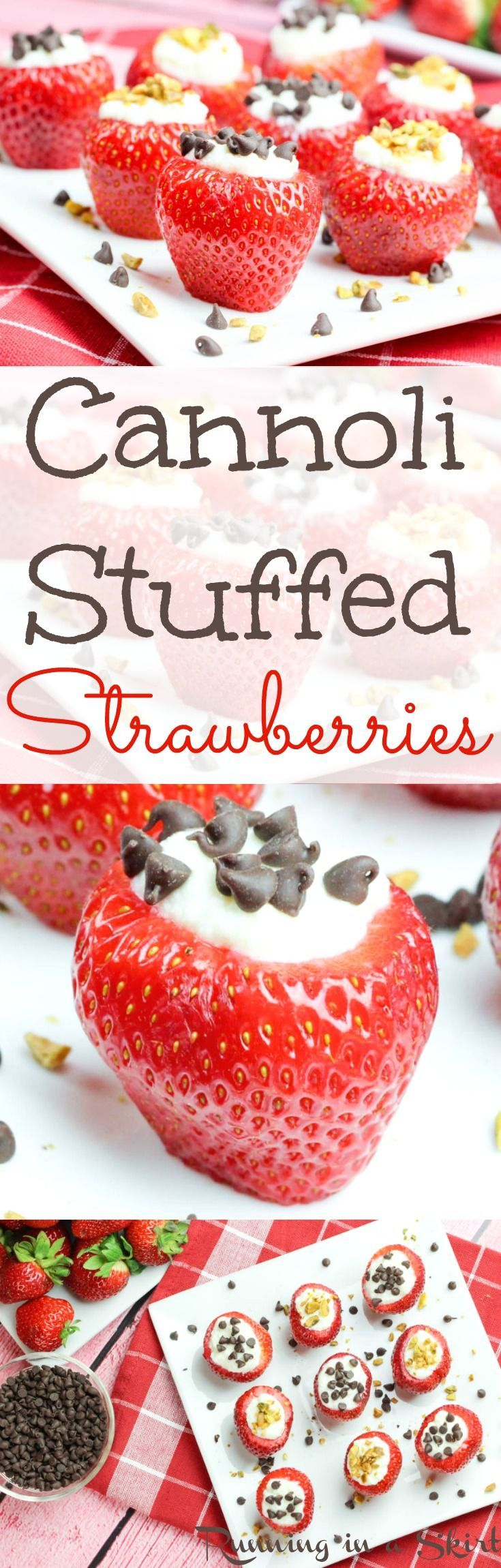 Easy Cannoli Stuffed Strawberries recipe. A healthy twist on the classic cannoli flavors! Uses lowfat ricotta and makes a great low carb dessert. Perfect for summer parties, 4th of July or just for fun. | Running in a Skirt