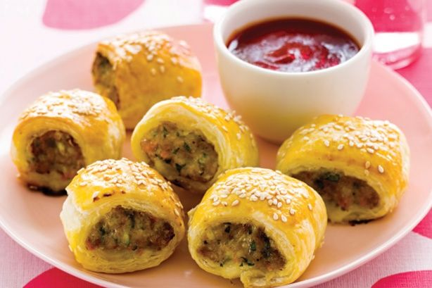 Get the kids to eat their vegetables in these tasty sausage rolls.