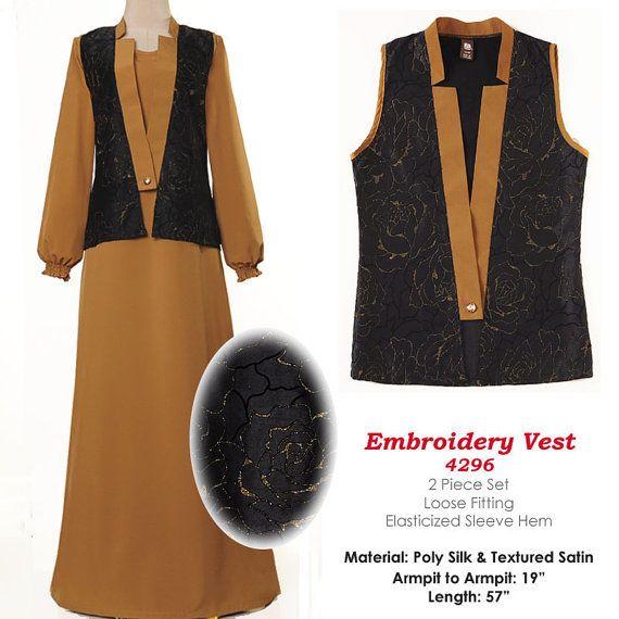 Gold Floral Vest Fashion Islamic Abaya Long Sleeves by MissMode21, $30.00