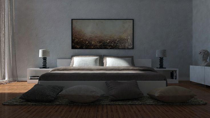 #Rendering #interiordesign #bedroom #picture #statue #wood #3dsmax #vray  #photoshop