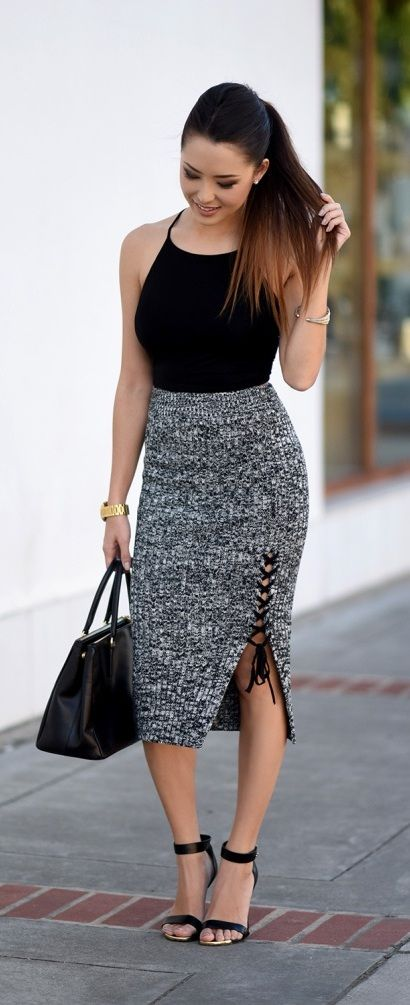 Knit skirt with lace up detail