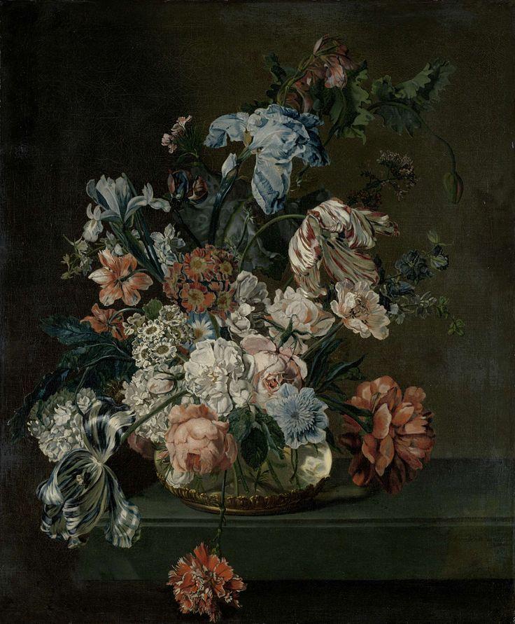 Cornelia van der Mijn | Still Life with Flowers, Cornelia van der Mijn, 1762 | Stilleven met bloemen. Op een tafel staat een glazen vaas met een boeket van tulpen, rozen, pioenen, anjers, irissen,  papavers en seringen.