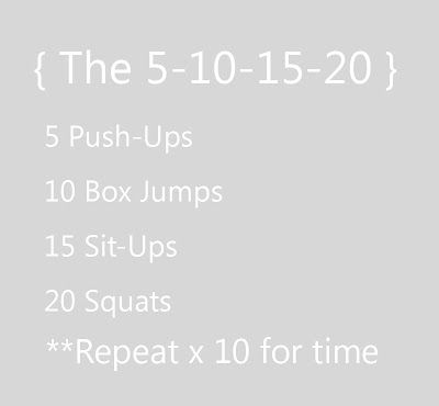 Did this today, hard but awesome!  At home cross fit: the 5-10-15-20