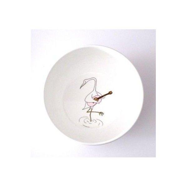 Smiling Planet crane bowl kom met een kraanvogel met roze  gitaar