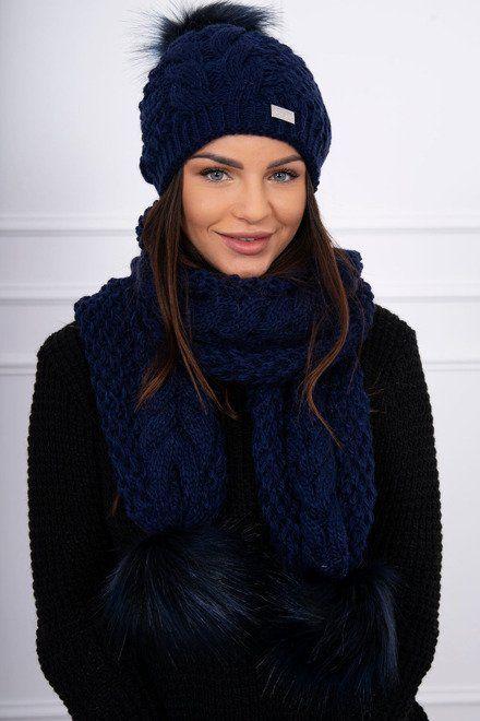 d638c1627 Krásny komplet na zimu, ktorý obsahuje dámsku čapku a šál, ktoré sú  zakončné prekrásnymi