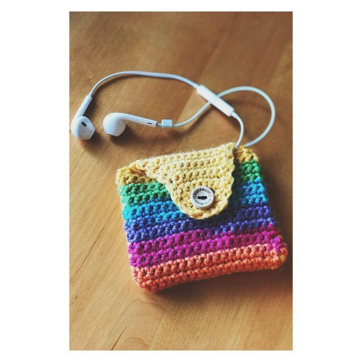 Little crochet bag for my small headphones.❤️