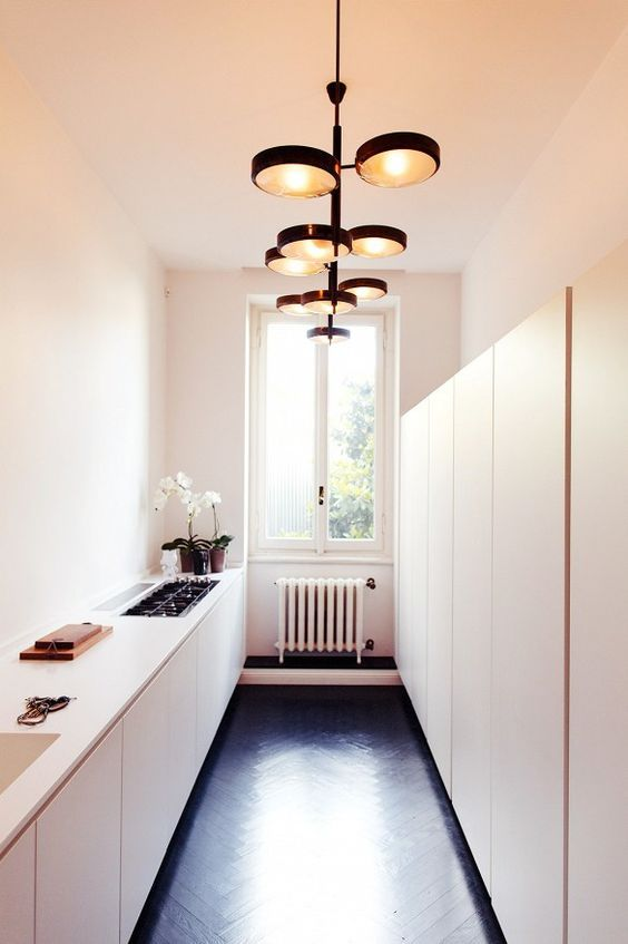 AuBergewohnlich Narrow Kitchen W Shallow Storage Wall ___ A Little Austere For My Taste But  Excellent Use