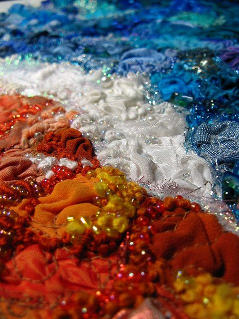 close up of a larger textile wall hanging with a beach/ocean theme    #textiles #embroidery