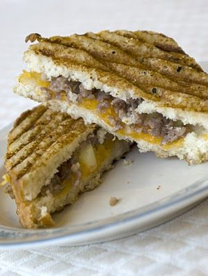 Sausage, apple, and cheddar breakfast pannini - If you are like me and ...
