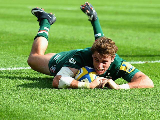 Blaine Scully a USA Rugby Eagle and Leicester Tiger scoring a try against Newcastle Falcons.