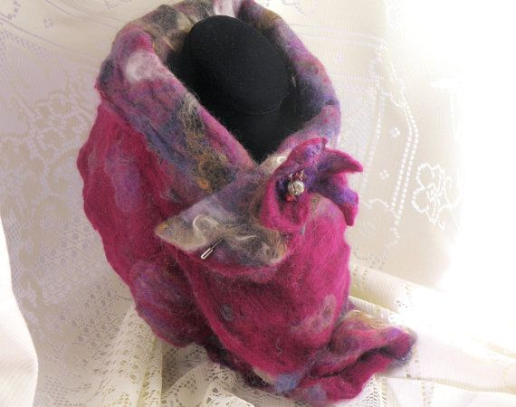 Handmade felted scarf & pin. Reversible wool 8 by 32 by ElizabethLovesGlass With Black Friday coupon code this is under $30! https://www.etsy.com/ca/listing/208522710/felt-scarf-pin-reversible-wool-8-by-32 Coupon Code FRIDAY2014 for 20%