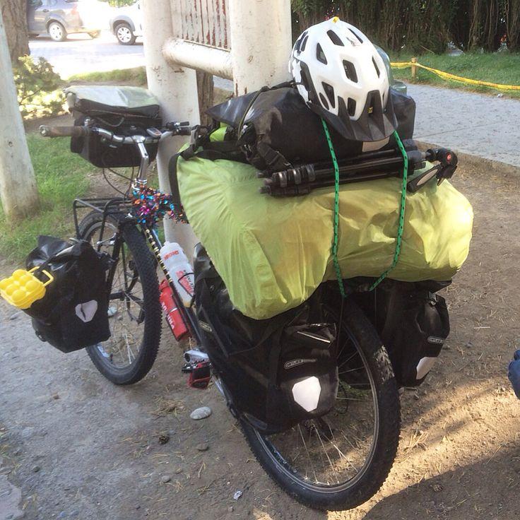 Fully loaded bike touring on the Kibo expedition bike. Ishbel aka World Bike Girl in South America on her around the world cycle #worldbybike #loadedtouring