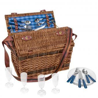 Picknickkorb Picknicktasche Weiden-Picknick Korb Summertime + Besteck 4 Personen