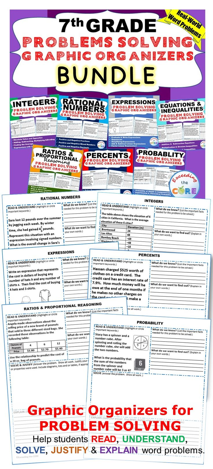 7th Grade Math Common Core WORD PROBLEMS with Graphic Organizers This BUNDLE resource includes 7 sets (69 problems) of 7th Grade real-world COMMON CORE WORD PROBLEMS that students must solve and explain using problem-solving strategies.  Topics Covered: ✔ Ratios & Proportional Reasoning  ✔ Percents  ✔ Integers  ✔ Rational Numbers   ✔ Expressions  ✔ Equations & Inequalities ✔ Probability Common Core 7NS, 7EE, 7RP, 7G, 7SP