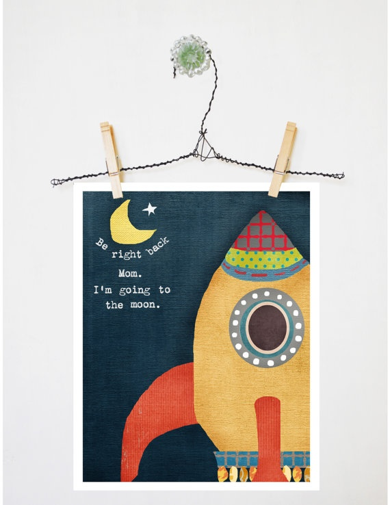 Print Art Rocketship Moon Nursery Toddler 8 by 10 by LilyCole, $20.00