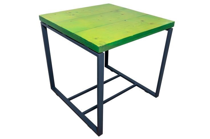 Lime Crush -  wood and resin cocteil table, lime coloured; masa de cocteiluri din lemn si rasina verde