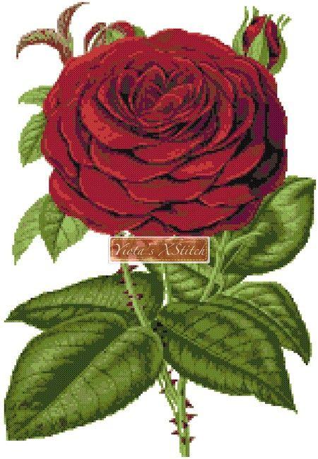 Red rose cross stitch kit