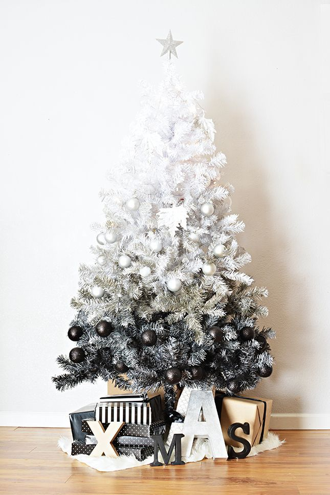 Contemporary Christmas tree | Ombre Christmas tree | Black and white Christmas | Trendy Christmas tree | Quirky Christmas tree | Modern Christmas styling | Modern Christmas interior